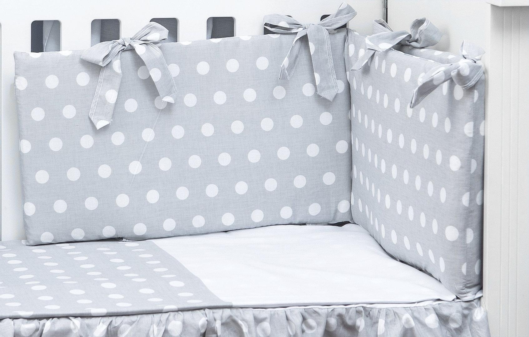 Funda Nordica One Piece.Cot Bumper And Duvet Cover 3 Pieces Set Polka Dots Collection White Grey Vizaro