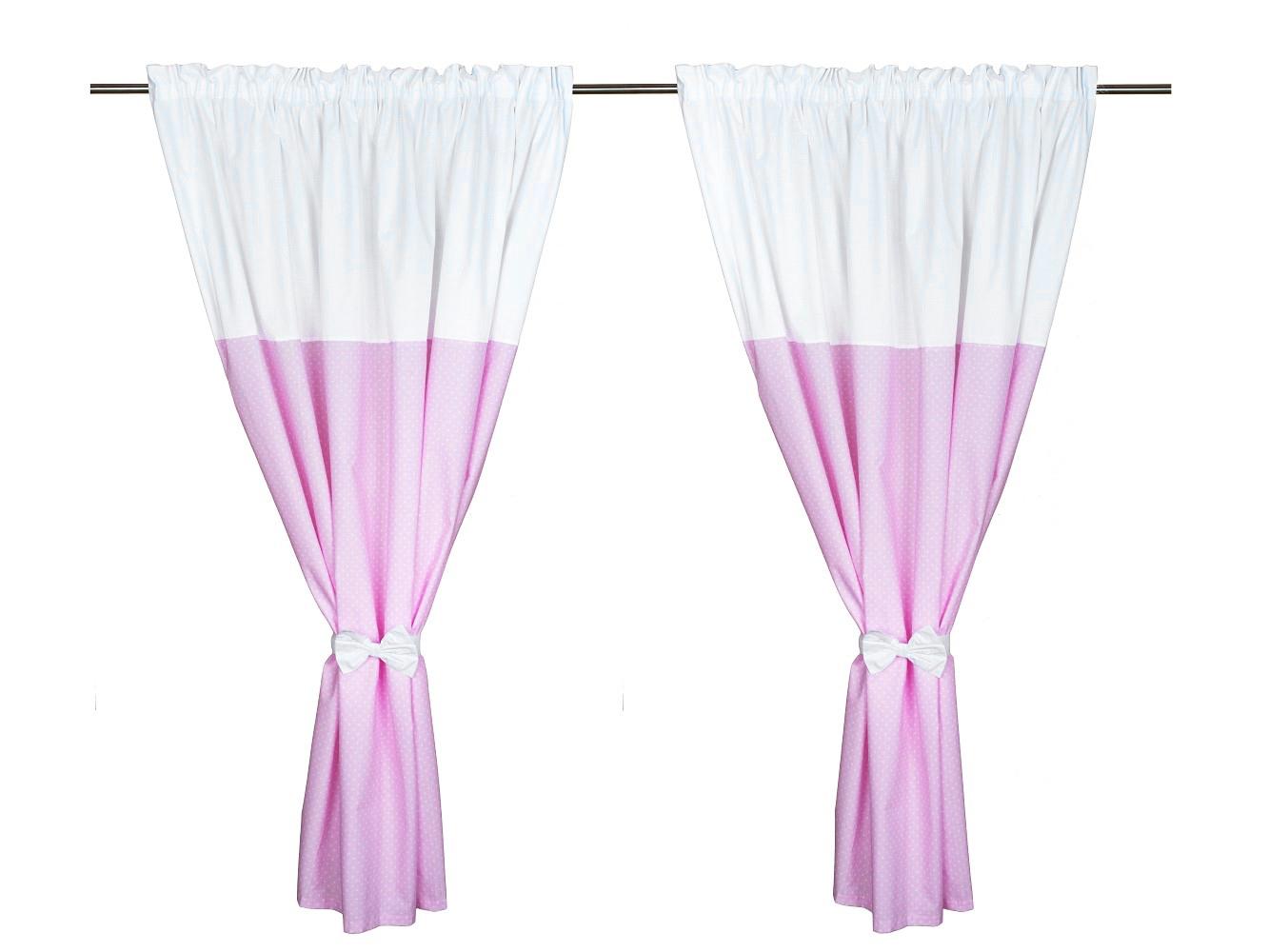 Cortinas de habitaci n de beb x 2 colecci n rosa y blanco for Cortinas en blanco