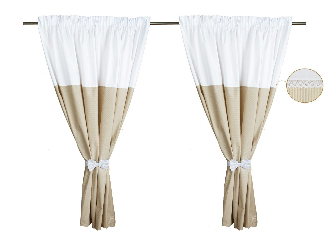 cortinas de habitacin de beb pack de coleccin bordado lneas beige vizaro
