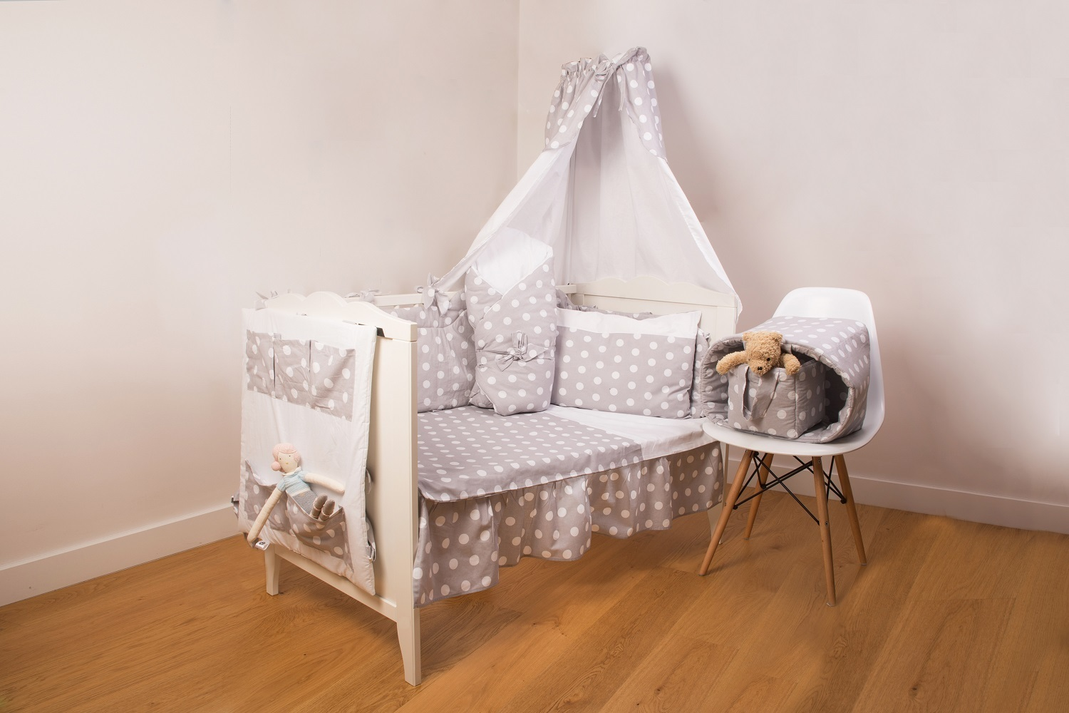 ... Canopy with holder for baby cot - Polka Dots Collection - White u0026 Grey - Vizaro ... & Canopy with holder for baby cot - Polka Dots Collection - Vizaro
