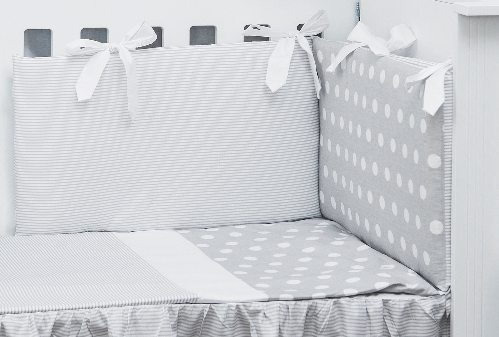 Funda Nordica One Piece.Cot Bed Bumper Duvet And Duvet Cover 5 Pieces Set Polka Dots And Stripes Collection Vizaro