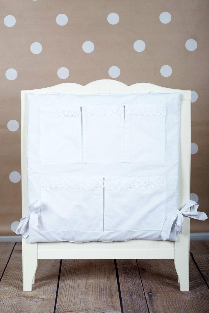 Mural organizador de cuna acolchado colecci n bordado blanco - Organizador de cuna ...