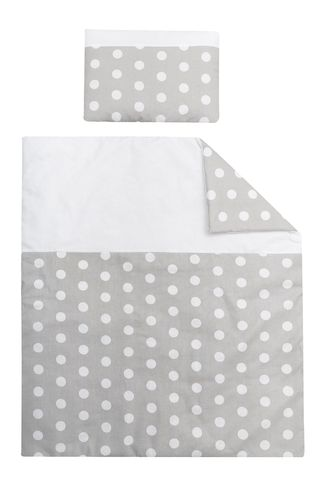 Quilt & pillow for Moses Basket - Polka Dots Collection - White & Grey - Vizaro