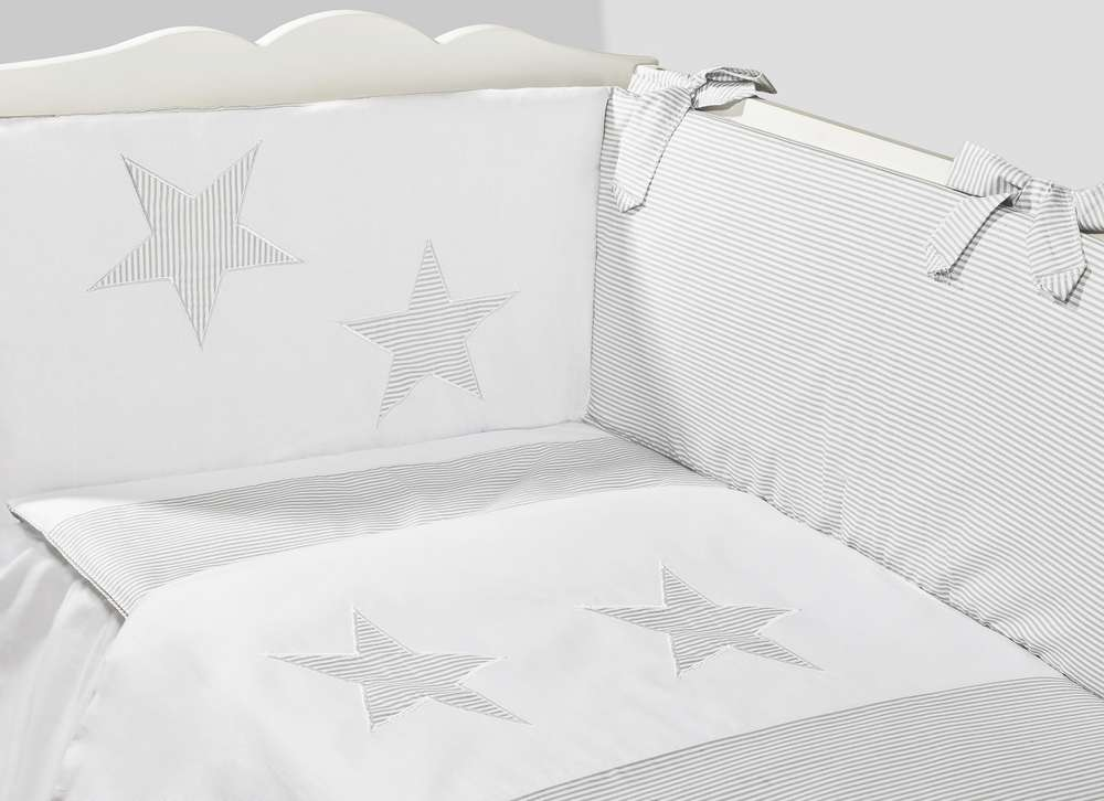 3pc bedding set BUMPER padded filled cot bed GREY STARS QUILT COVERS for cot