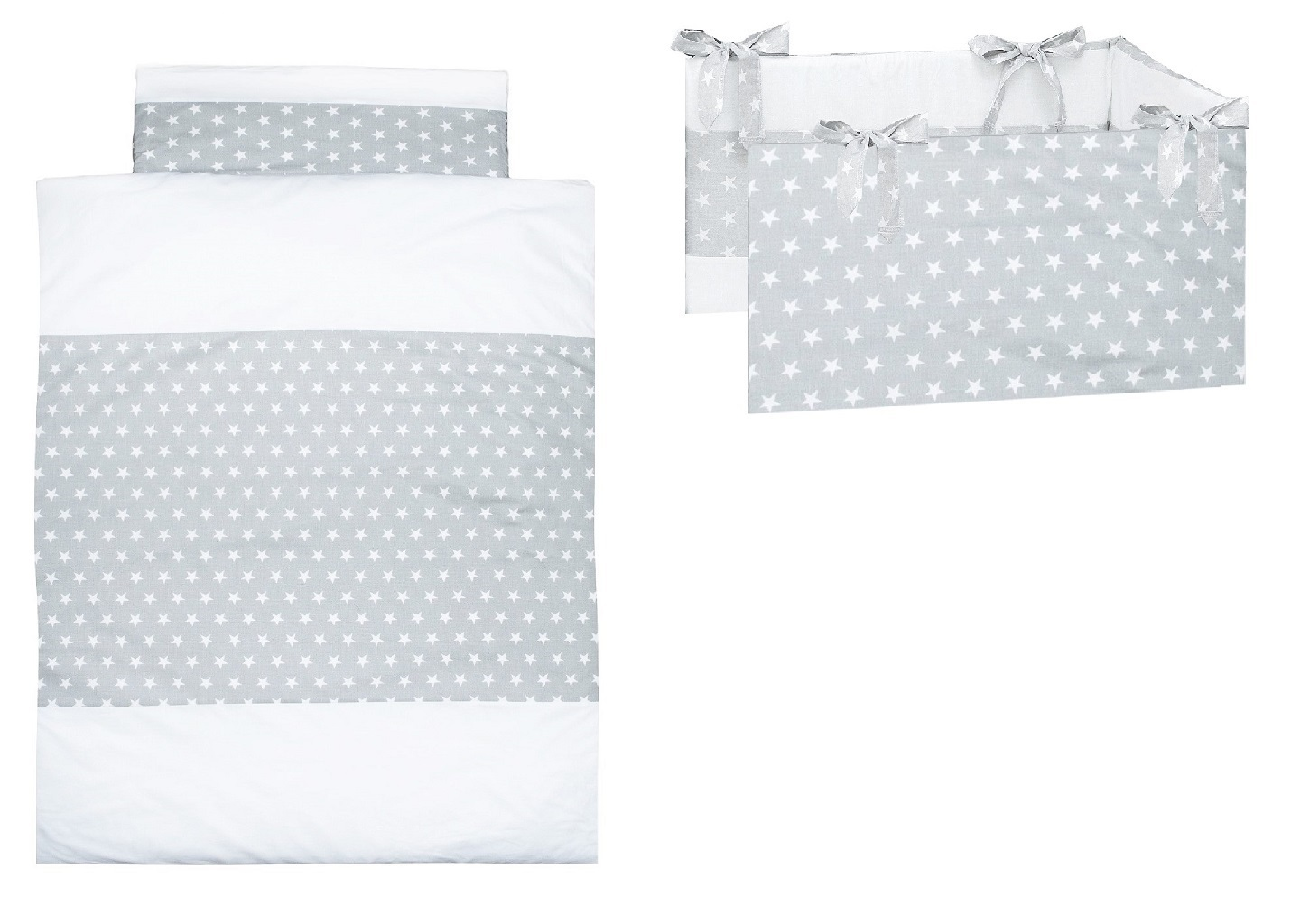 Cot Bed Bumper and Duvet Cover Set Little Stars Collection Vizaro