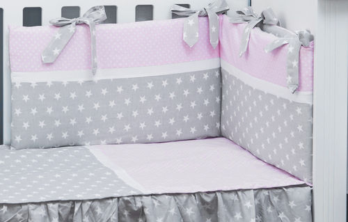 Cot Bed Bumper and Duvet Cover - 3 Piece Set - Polka Dots and Stars Collection - Vizaro