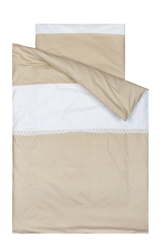 Duvet Cover Bedding Set for Cot - Beige Stripes with Lace Collection - Vizaro