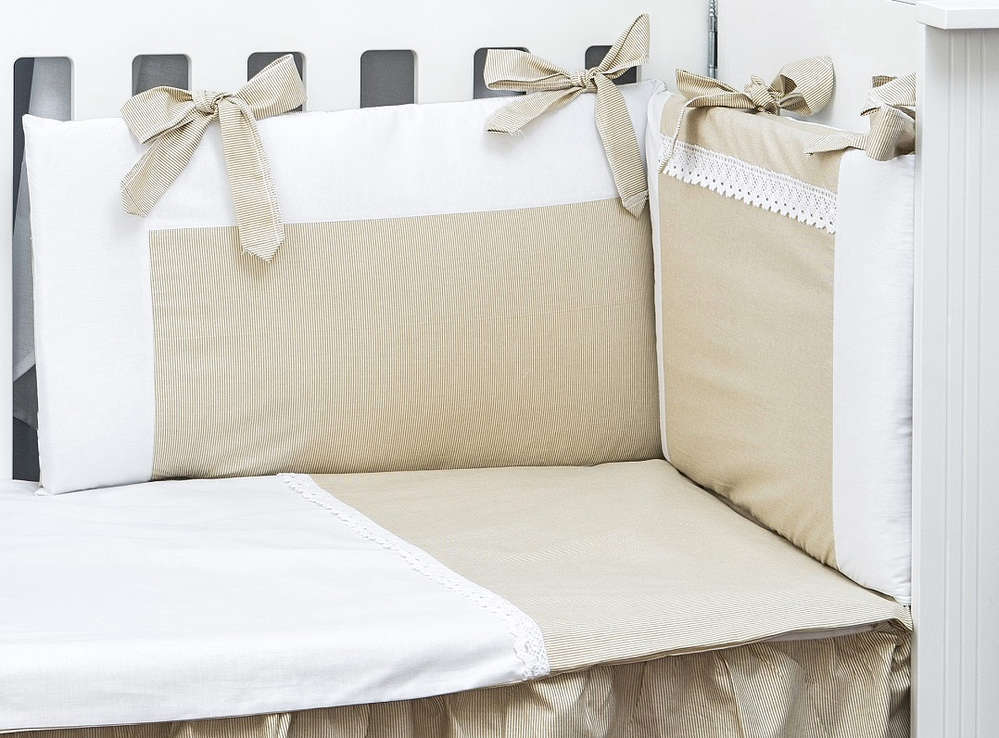 Funda Nordica One Piece.Cot Bumper And Duvet Cover Set Beige Stripes With Lace