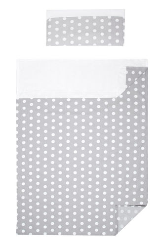 3 piece Bedding Set of Sheets for Cot - Polka Dots Collection - White & Grey