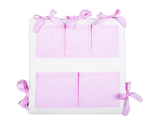Pocket Cot Tidy (padded) - Pink & White Collection - Vizaro