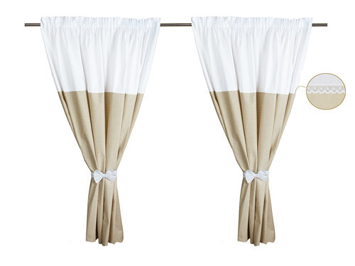 Curtains for baby room (2x) - Beige Stripes with Lace Collection - Vizaro