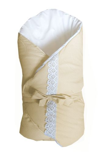 Swaddle Wrap for newborn - Beige Stripes with Lace Collection - Vizaro