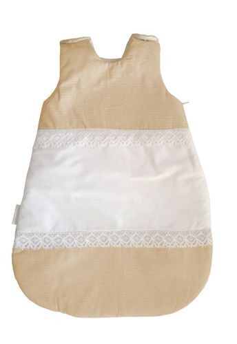 Sleeping bag (0-4 Months) -  2,5 Tog - Beige Stripes with Lace Collection