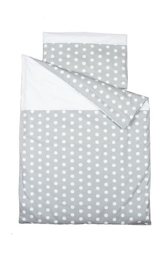 Duvet Cover Bedding Set for Cot Bed - Polka Dots Collection - White & Grey - Vizaro