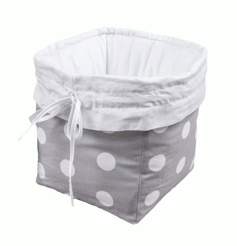 Premium Storage Basket - Polka Dots Collection - White & Grey - Vizaro