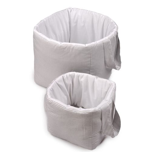 Padded Storage Baskets (2 pieces set) - Grey Stripes Collection - Vizaro