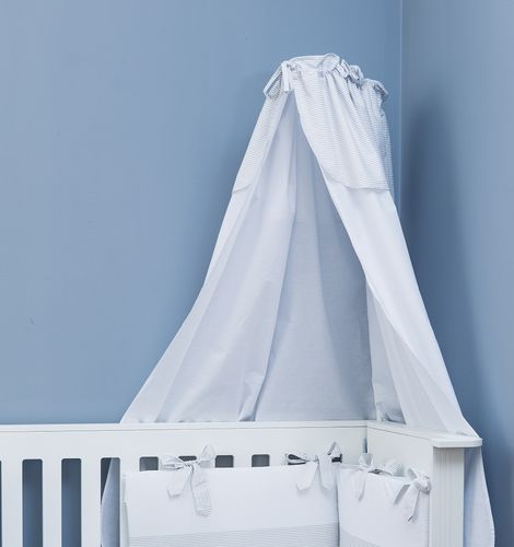 Canopy with holder for baby cot - Grey Stripes Collection - Vizaro