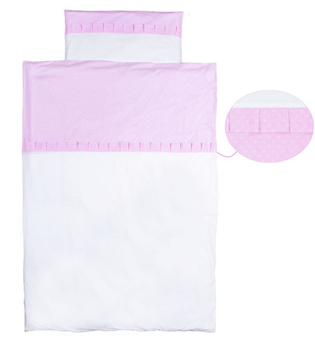 Duvet Cover Bedding Set for Cot Bed - Pink & White Collection - Vizaro