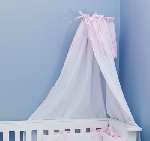 Canopy with holder for baby cot - Pink & White Collection - Vizaro