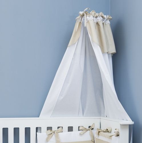 Canopy with holder for baby cot - Beige Stripes with Lace Collection - Vizaro