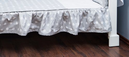 Valance sheet for Cot Bed - Polka Dots Collection - White & Grey - Vizaro