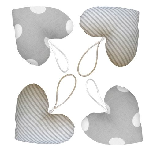Hanging Hearts for Baby Room decor (4 Pieces Set) - Polka Dots and Stripes Collection - Vizaro