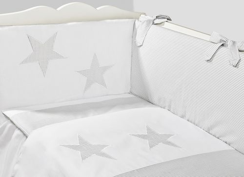 Cot Bed Bumper, Duvet and Duvet Cover - 5 Pieces Set - Great Laced Star Collection - Vizaro