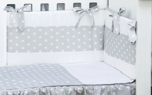 Cot Bed Bumper, Duvet and Duvet Cover - 5 Pieces Set - Little Stars Collection - Vizaro