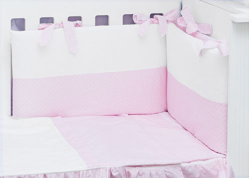Cot Bed Bumper, Duvet and Duvet Cover - 5 Pieces Set - Pink & White Collection - Vizaro