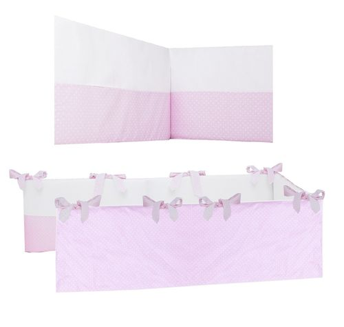 Extra-long Padded Bumper Cot Bed - Pink & White Collection - Vizaro