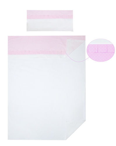3 piece Bedding Set of Sheets for Cot Bed - Pink & White Collection - Vizaro