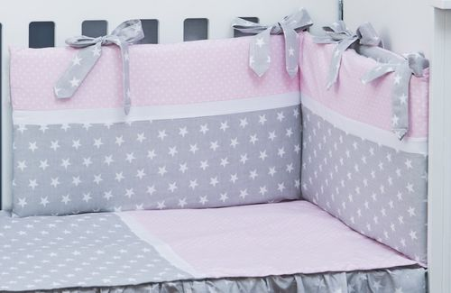 Cot Bed Bumper, Duvet and Duvet Cover - 5 Pieces Set - Polka Dots and Stars Collection - Vizaro