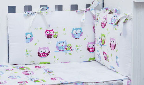 Cot Bumper, Duvet and Duvet Cover - 5 Pieces Set - Little Owls Collection - Vizaro