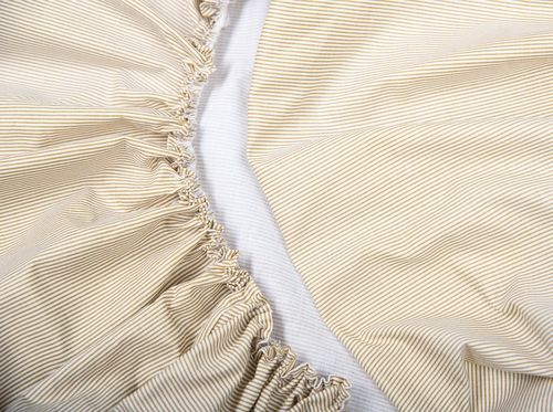 Fitted Sheet for Cot Bed - Beige Stripes with Lace Collection - Vizaro
