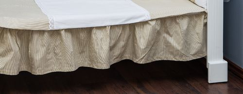 Valance sheet for Cot Bed - Beige Stripes with Lace Collection - Vizaro