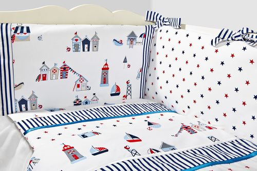 Cot Bed Bumper, Duvet and Duvet Cover - 5 Pieces Set - Beach Huts Collection - Vizaro