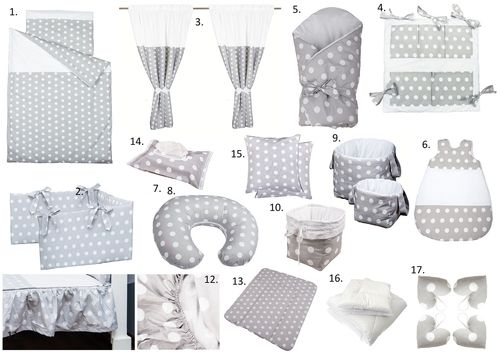 The Complete Baby Package Cot Bed - 19 Pieces Set - Polka Dots Collection - White & Grey - Vizaro