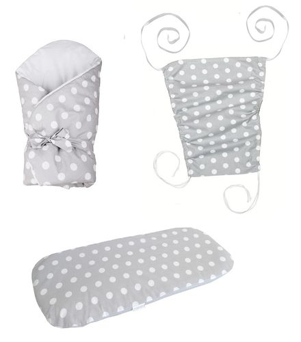 Baby Pram Set- 3 Pieces Set - Polka Dots Collection - White & Grey - Vizaro