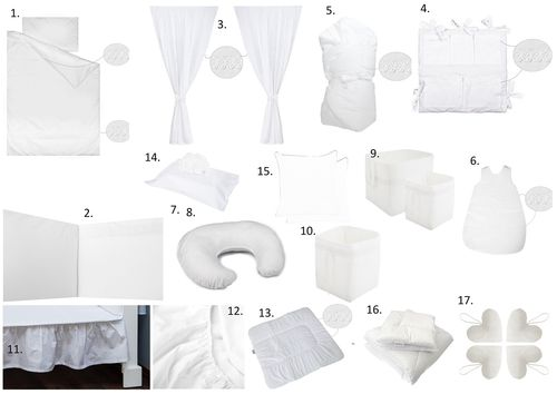 The Complete Baby Package Cot Bed - 19 Pieces Set - White Lace Collection - Vizaro