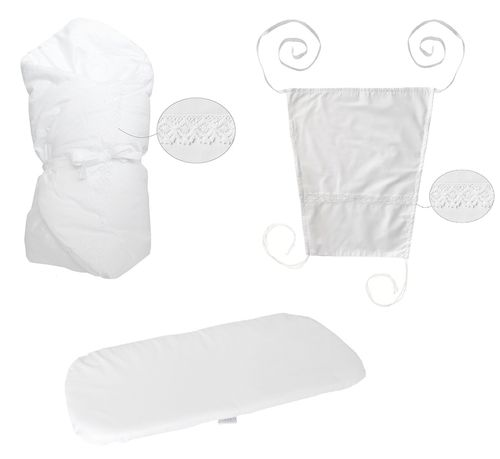 Baby Pram Set- 3 Pieces Set - White Lace Collection - Vizaro