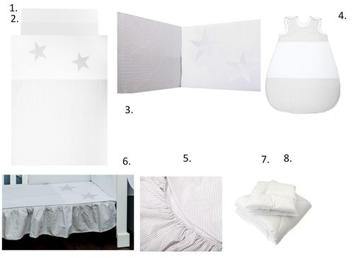 Complete Bedding Set for Cot Bed - 8 Pieces Set - Great Laced Star Collection - Vizaro