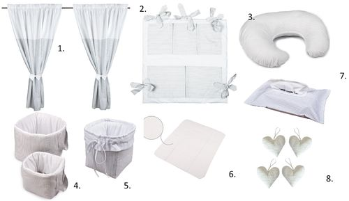 Baby's Room Decor Set - 8 Pieces Set - PGreat Laced Star Collection - Vizaro