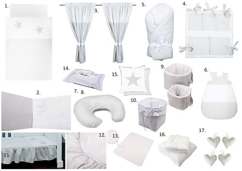 The Complete Baby Package Cot Bed - 19 Pieces Set - Great Laced Star Collection - Vizaro