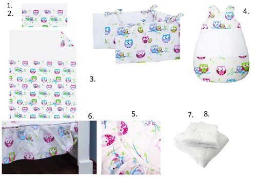Complete Bedding Set for Cot - 8 Pieces Set - Little Owls Collection - Vizaro
