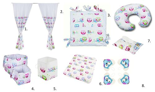 Baby's Room Decor Set - 8 Pieces Set - Little Owls Collection - Vizaro
