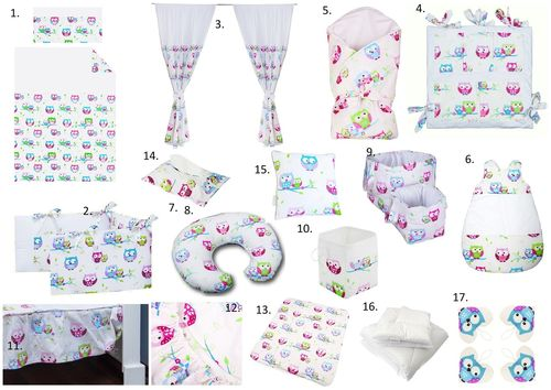The Complete Baby Package Cot Bed - 19 Pieces Set - Little Owls Collection - Vizaro
