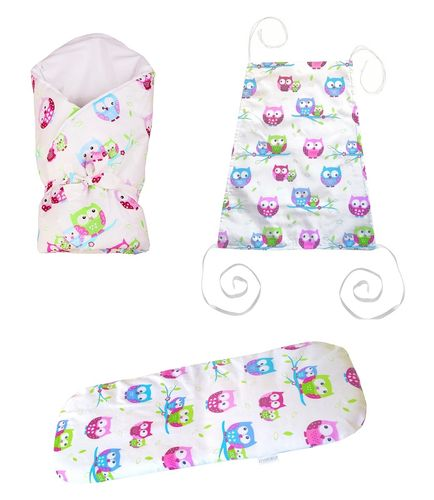 Baby Pram Set- 3 Pieces Set - Little Owls Collection  - Vizaro