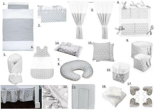 The Complete Baby Package Cot Bed - 19 Pieces Set - Little Stars Collection - Vizaro