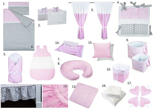 The Complete Baby Package Cot Bed - 19 Pieces Set - Polka Dots and Stars Collection - Vizaro