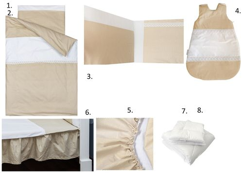 Complete Bedding Set for Cot Bed - 8 Pieces Set - Beige Stripes with Lace Collection - Vizaro